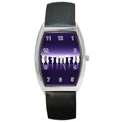 Chess Pieces Barrel Style Metal Watch by Valentinaart
