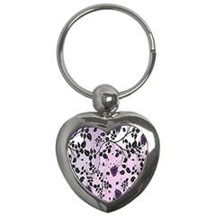 Floral Pattern Background Key Chains (heart)  by Nexatart