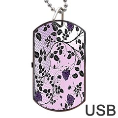 Floral Pattern Background Dog Tag Usb Flash (one Side) by Nexatart