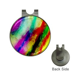 Colorful Abstract Paint Splats Background Hat Clips With Golf Markers