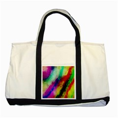 Colorful Abstract Paint Splats Background Two Tone Tote Bag by Nexatart