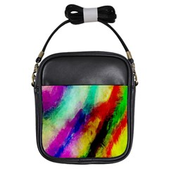 Colorful Abstract Paint Splats Background Girls Sling Bags by Nexatart