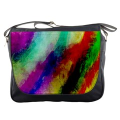 Colorful Abstract Paint Splats Background Messenger Bags