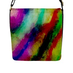 Colorful Abstract Paint Splats Background Flap Messenger Bag (l)  by Nexatart