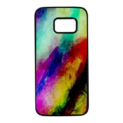 Colorful Abstract Paint Splats Background Samsung Galaxy S7 Black Seamless Case