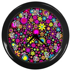 Bright And Busy Floral Wallpaper Background Wall Clocks (black)