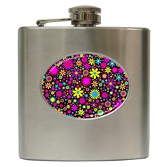Bright And Busy Floral Wallpaper Background Hip Flask (6 Oz)