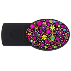 Bright And Busy Floral Wallpaper Background Usb Flash Drive Oval (2 Gb)