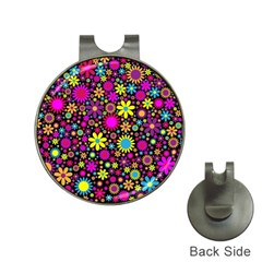 Bright And Busy Floral Wallpaper Background Hat Clips With Golf Markers by Nexatart
