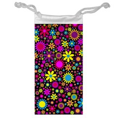 Bright And Busy Floral Wallpaper Background Jewelry Bag