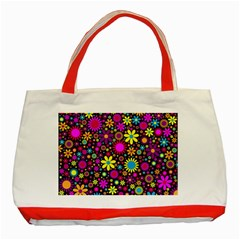 Bright And Busy Floral Wallpaper Background Classic Tote Bag (red)