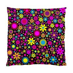 Bright And Busy Floral Wallpaper Background Standard Cushion Case (one Side) by Nexatart