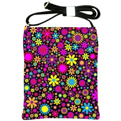 Bright And Busy Floral Wallpaper Background Shoulder Sling Bags by Nexatart