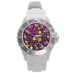 Bright And Busy Floral Wallpaper Background Round Plastic Sport Watch (l)