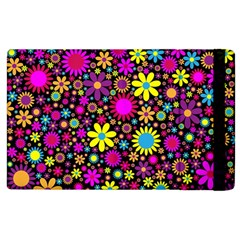 Bright And Busy Floral Wallpaper Background Apple Ipad 2 Flip Case by Nexatart
