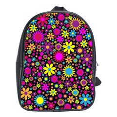 Bright And Busy Floral Wallpaper Background School Bags (xl)  by Nexatart