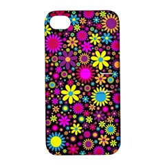 Bright And Busy Floral Wallpaper Background Apple Iphone 4/4s Hardshell Case With Stand by Nexatart