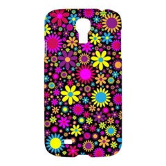Bright And Busy Floral Wallpaper Background Samsung Galaxy S4 I9500/i9505 Hardshell Case by Nexatart