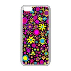 Bright And Busy Floral Wallpaper Background Apple Iphone 5c Seamless Case (white) by Nexatart