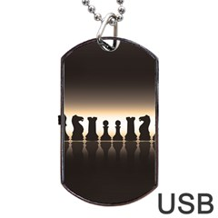 Chess Pieces Dog Tag Usb Flash (one Side) by Valentinaart