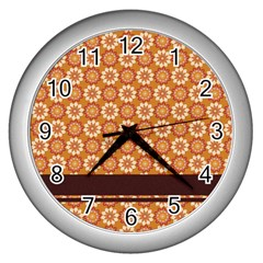 Floral Seamless Pattern Vector Wall Clocks (silver)  by Nexatart