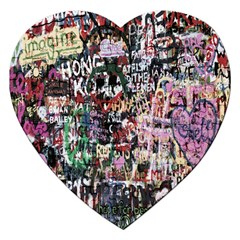Graffiti Wall Pattern Background Jigsaw Puzzle (heart) by Nexatart