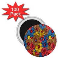 Background With Multi Color Floral Pattern 1 75  Magnets (100 Pack)