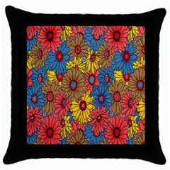 Background With Multi Color Floral Pattern Throw Pillow Case (black) by Nexatart
