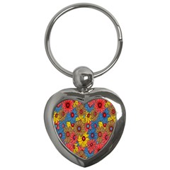 Background With Multi Color Floral Pattern Key Chains (heart)  by Nexatart