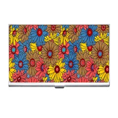 Background With Multi Color Floral Pattern Business Card Holders