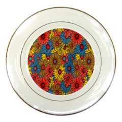 Background With Multi Color Floral Pattern Porcelain Plates by Nexatart