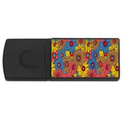 Background With Multi Color Floral Pattern Usb Flash Drive Rectangular (4 Gb)