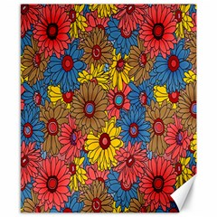 Background With Multi Color Floral Pattern Canvas 8  X 10  by Nexatart