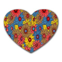 Background With Multi Color Floral Pattern Heart Mousepads by Nexatart