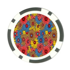 Background With Multi Color Floral Pattern Poker Chip Card Guard (10 Pack) by Nexatart