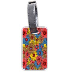Background With Multi Color Floral Pattern Luggage Tags (one Side)  by Nexatart