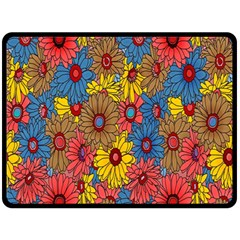 Background With Multi Color Floral Pattern Double Sided Fleece Blanket (large)  by Nexatart