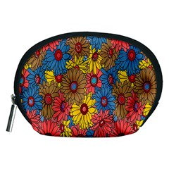 Background With Multi Color Floral Pattern Accessory Pouches (medium)  by Nexatart
