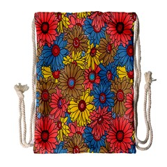 Background With Multi Color Floral Pattern Drawstring Bag (large)