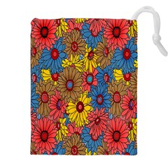 Background With Multi Color Floral Pattern Drawstring Pouches (xxl) by Nexatart