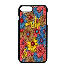 Background With Multi Color Floral Pattern Apple Iphone 7 Plus Seamless Case (black) by Nexatart