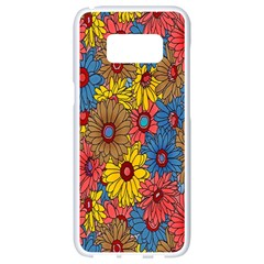 Background With Multi Color Floral Pattern Samsung Galaxy S8 White Seamless Case