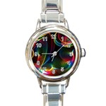 Abstract Rainbow Twirls Round Italian Charm Watch Front
