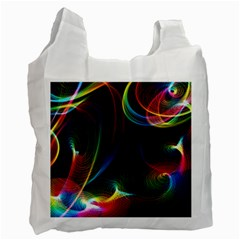 Abstract Rainbow Twirls Recycle Bag (two Side)  by Nexatart