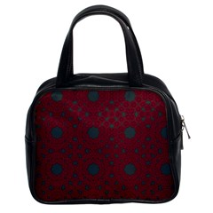 Blue Hot Pink Pattern With Woody Circles Classic Handbags (2 Sides)
