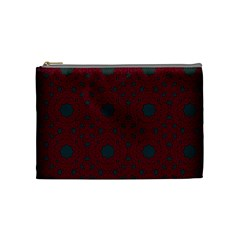 Blue Hot Pink Pattern With Woody Circles Cosmetic Bag (medium)  by Nexatart