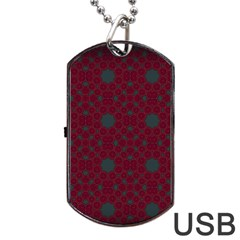 Blue Hot Pink Pattern With Woody Circles Dog Tag Usb Flash (two Sides)