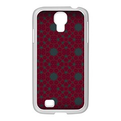 Blue Hot Pink Pattern With Woody Circles Samsung Galaxy S4 I9500/ I9505 Case (white) by Nexatart
