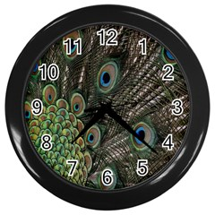 Close Up Of Peacock Feathers Wall Clocks (black) by Nexatart