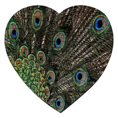 Close Up Of Peacock Feathers Jigsaw Puzzle (heart) by Nexatart